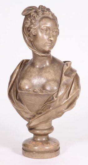 (19th C) French Terracotta Bust Of A Young Woman