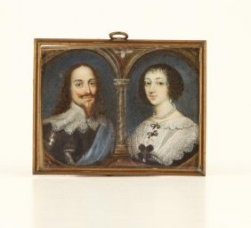 (19th C) Double Portrait Miniature On Ivory