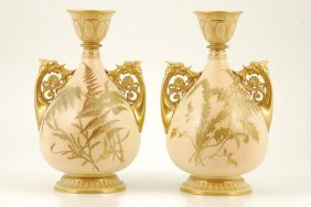 Pair Of Royal Worcester Vases With Griffin Handles