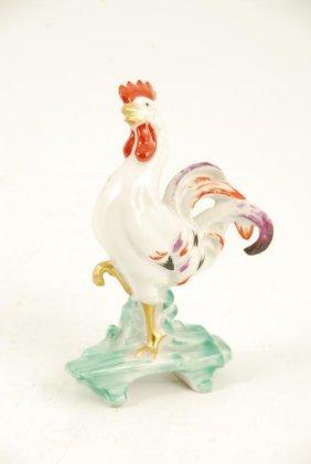 Miniature Porcelain Rooster Signed