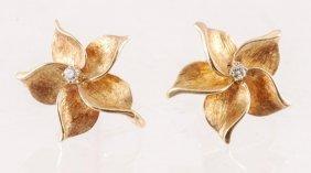14 K Gold Earrings Set With Diamonds