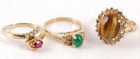 14k Ruby Ring W/ 14k Jade Ring