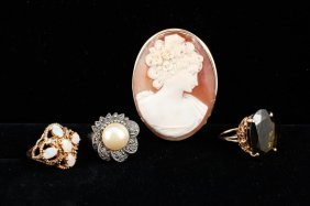 Quartz, Opal, Marcisite Rings And Cameo