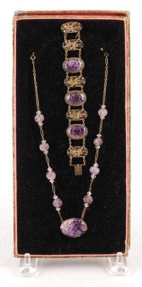 Chinese Carved Lavender Jade Necklace & Bracelet