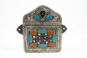 Asain Copper & Silver Purse Inlayed W Hardstones