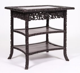 Late Qing Carved Chinese Hardwood Stand