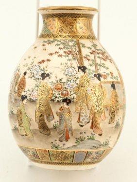 Fine Quality Satsuma Vase With Family Groups