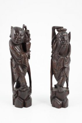 (19thc) Two Chinese Carved & Wire Inlay Immortals