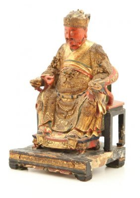 (19th C) Chinese Carved And Painted Seated Figure