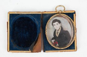 (early 19thc) Miniature On Ivory Of A Gent W/ Book