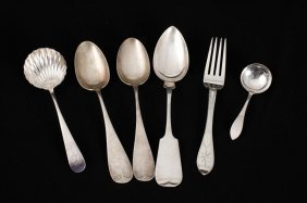 Lot Of (6) Pieces Of Coin Silver Flatware
