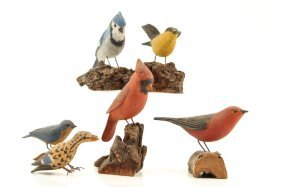 (6) Carved And Painted Folk Art Birds