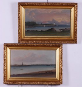 Pair Of American School Seascapes With Lighthouses