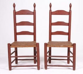 Pair Of Red Painted Ladder-back Chairs