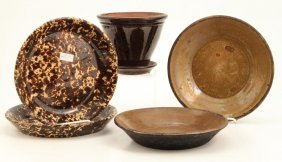 Rockingham And Red Ware Pottery Pie Plates Etc