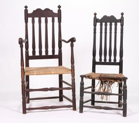 (18th C) New England Bannister Back Chairs
