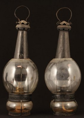 Pair Of Rare Fixed Globe Lanterns With Glass Fonts