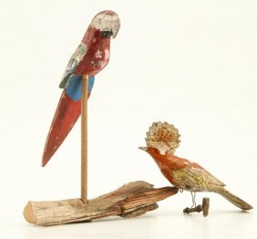 (2) Carved And Painted Exotic Birds