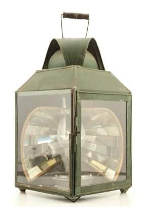 Triangular Fluid Lantern With Mirrored Reflector
