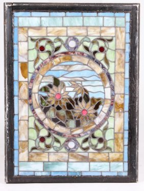 Stained Glass Window With Water Lilies