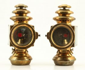 (early 20th C) E & J Detroit Brass Carriage Lamps