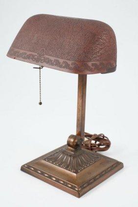 Emeralite Desk Lamp With Bellova Glass Shade