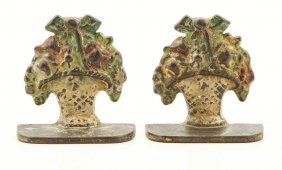 Miniature Cast Iron Basket Of Flowers Bookends