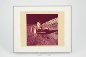 1971 Nasa Apollo Color Photo Cernan Signed Rover