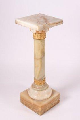 Victorian Columnar White Onyx Pedestal