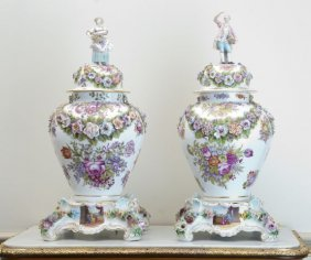 Pair Of 19th C German Meissen Covered Jars