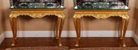 Pair Of C 1900 George Iii Style Giltwood Consoles