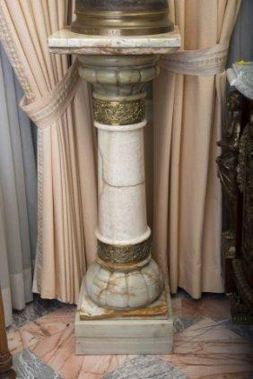 19thc Ormolu Mounted Onyx Pedestal