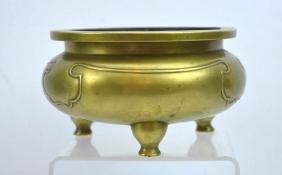 Good Antique Chinese Bronze Censer On 3 Feet