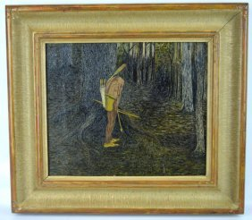 Early 20th Century Us Outsider Art; Oil On Canvas