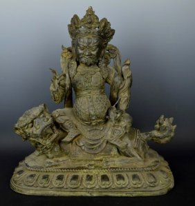 Chinese Bronze Guardian Figure On Lion