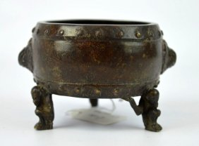 Qing Dynasty Chinese Bronze Censer, Monkey Legs