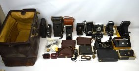 Leather Bag; 12 Old Kodak Or Agfa Cameras & More