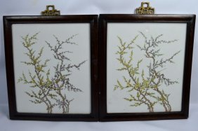 Pair Of Chinese Enameled Porcelain Plaques