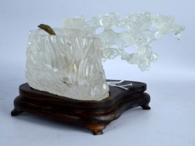 Chinese Carved Natural Rock Crystal Water Coup