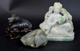 3 - Antique Chinese Carved Jade Figures