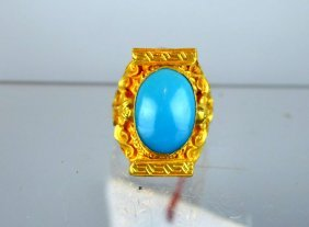 24k Gold & Unlined Turquoise Cabochon Tibetan Ring