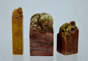 3 Chinese Carved Soapstone Seals
