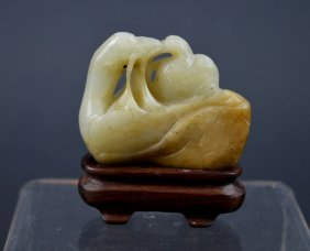 Early Qing Chinese Carved Pebble Jade Ducks Toggle