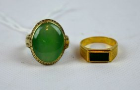 2 - Natural Green Jadeite Stones In 2 Gold Rings