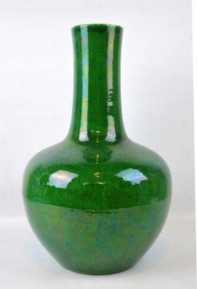 19th C Chinese Green over Crackle Porcelain Vase