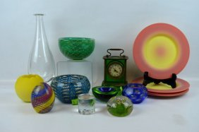 12 Piece - Group Of Venetian & American Art Glass
