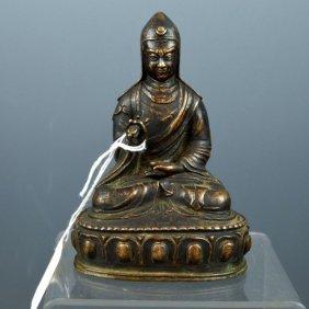 Tibetan Bronze Figure Of Guru Padmasambhava Seated