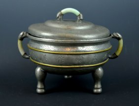 Late Qing Chinese Incised Pewter & Jadeite Pot