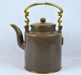 Large Yixing Teapot With Brass Protective Trim