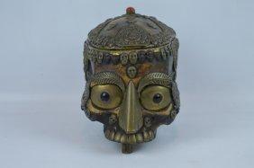 A Tibetan Silver Mounted Tantric Skull Bowl